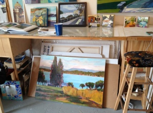 "Lisa Snow Lady Studio ""Late Afternoon"" painting in her studio"