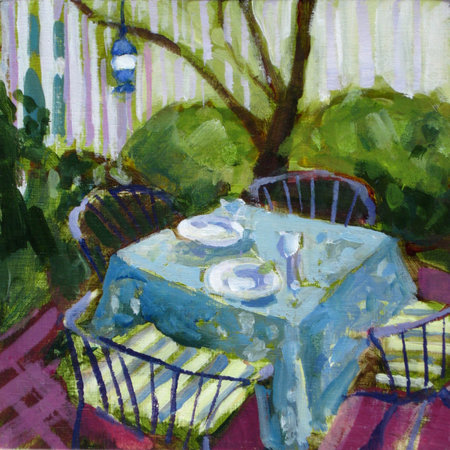 """Patio"" by Lisa Snow Lady, 6x6 acrylic painting"