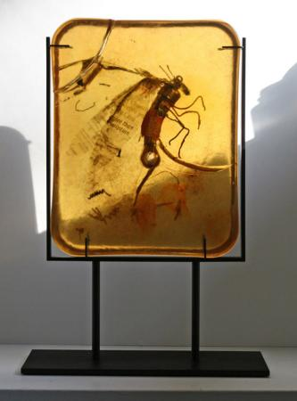 Amber with Firefly, metal and resin sculpture by Fred Lisaius