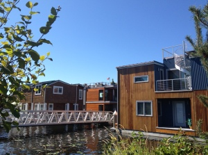 Photo of Dock leading to a group of Eastlake Floating Homes on Lake Union in Seattle.