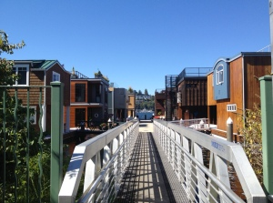 Photo of a Dock leading to a group of Eastlake Floating Homes on Lake Union in Seattle.