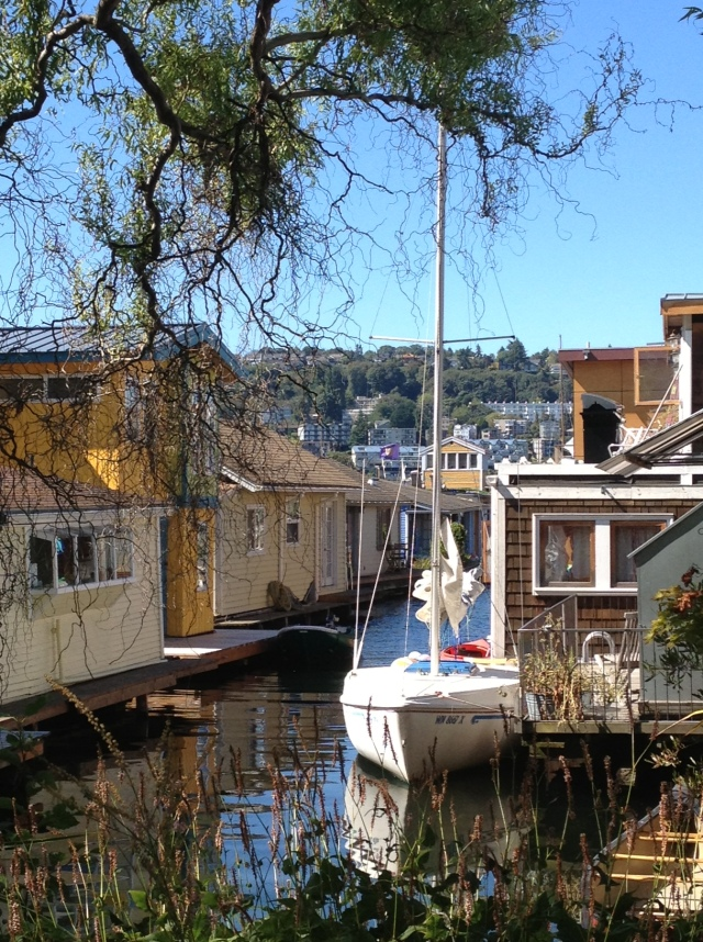 Photo of Sailboat tied up at a Floating Home in Seattle's Eastlake neighborhood on Lake Union.