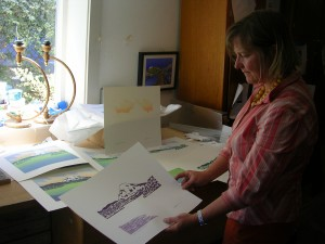 "Kristina Hagman with Progressive Prints of ""Dawn"""