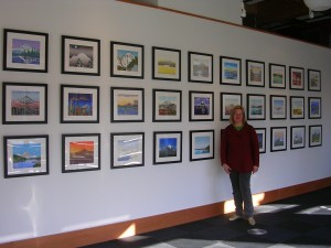 "Kristina Hagman with her ""36 Views of Mt Rainier"" at Kinsey Gallery"