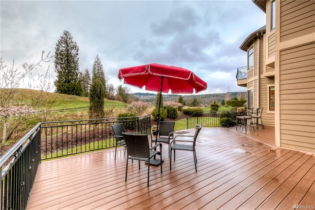 Backyard deck overlooking the 3rd fairway at, 15138 SE 80th St, Newcastle, mls 1263213