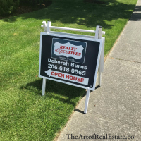 Open House sign for Deborah Burns, Real Estate Broker, Greater Seattle Area. TheArtofRealEstate.co ArtofRealEstate.co
