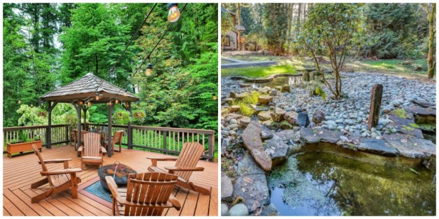 Deck and water feature, Bridle Trails in Bellevue Home for Sale. 13106 NE 38th Place, Bellevue, WA 98005. MLS 1332223